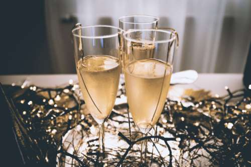 Party! Glasses of Champagne. Happy New Year concept.