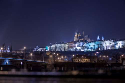 Historical city of Prague at night