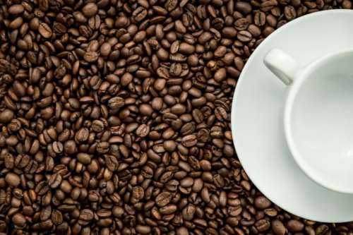 Texture of coffee beans with a white cup