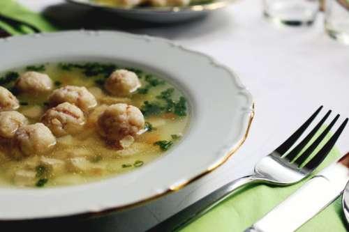 Traditional Czech soup with dumplings