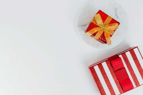 Christmas background with red gifts