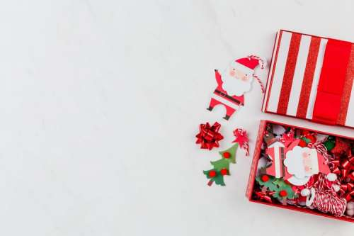 Christmas background with gifts & decorations