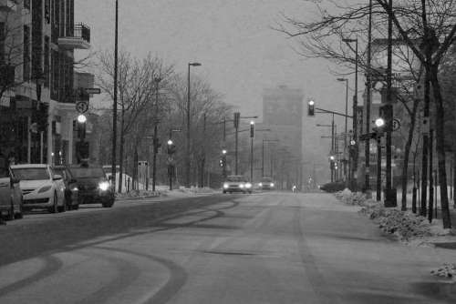 Snowy Darky Urban Street Mornings