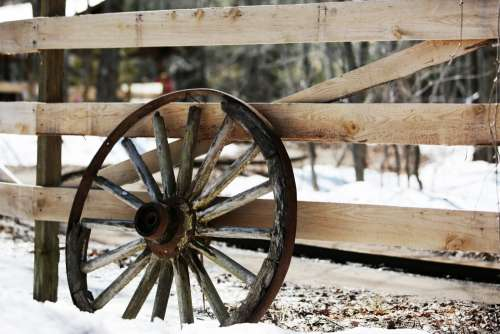 Fence & Old Wheel