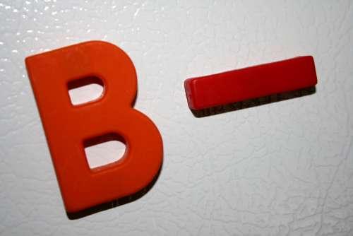 B Minus School Letter Grade