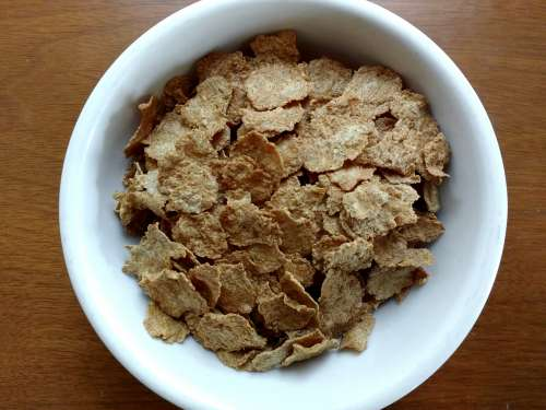 Bowl of Bran Flakes Breakfast Cereal
