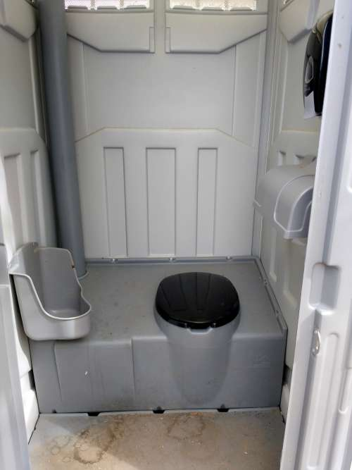 Inside of a Port-a-Potty