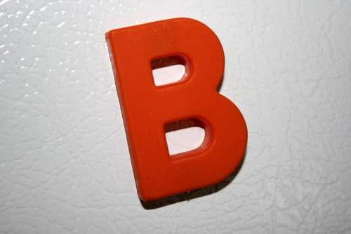 Letter B Red Refrigerator Magnet