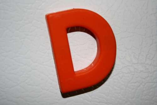 Letter D Red Refrigerator Magnet