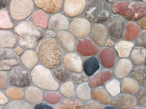 Masonry Wall with Rounded Rocks Texture
