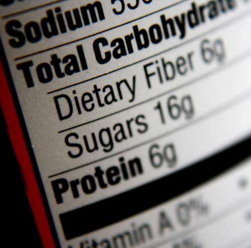 Nutritional Information Label – Carbohydrates, Sugars, Protein