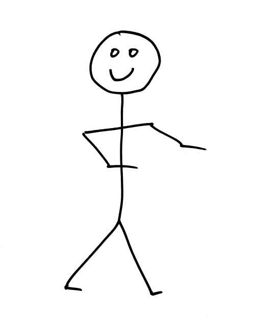 Smiling Stick Figure Person
