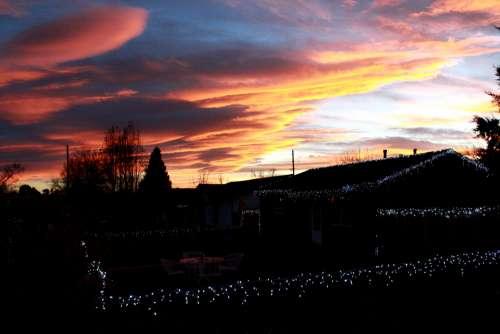 Sunset over Christmas Lights