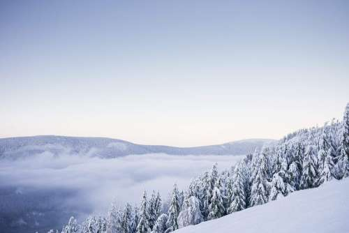 Beautiful Mountains with Snow Cloudless Panorama