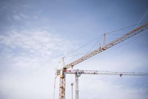 Big Lifting Cranes at Construction Site