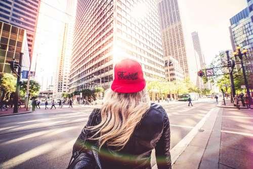 Blonde Woman Walking Alone On San Francisco Streets