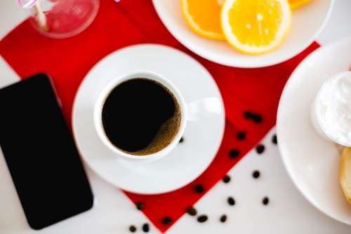 Breakfast Tray with Cup of Coffee