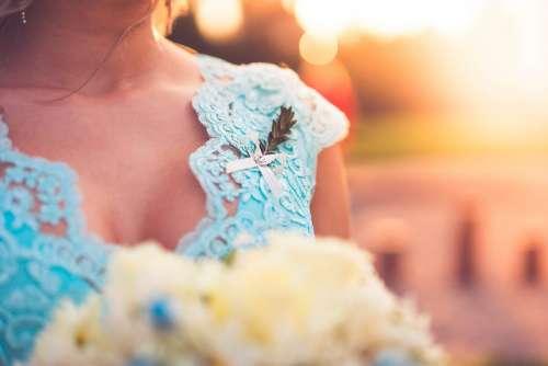 Beautiful Bridesmaid in Blue Dress