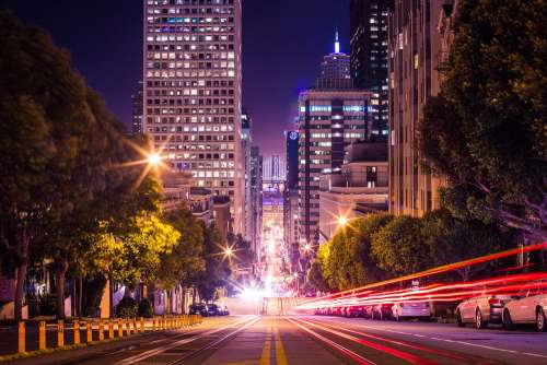 Famous California Street in San Francisco at Night