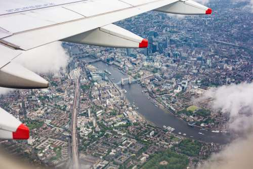 Center of London, UK from the Airplane Window