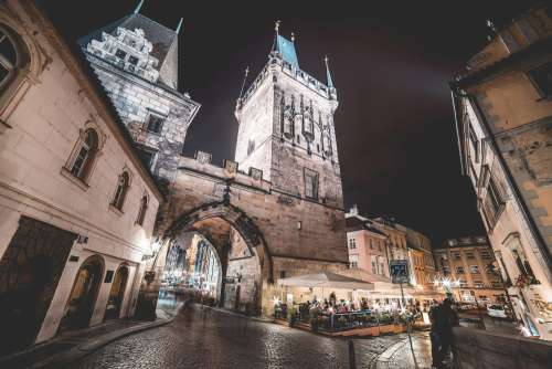 Charles Bridge Towers, Prague at Night