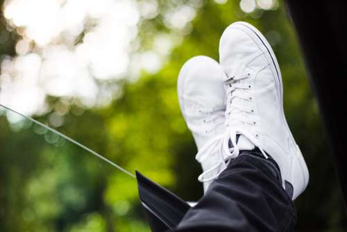 Chilling Out With White Sneakers On