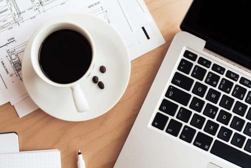 Coffee & Laptop Business Work Still Life