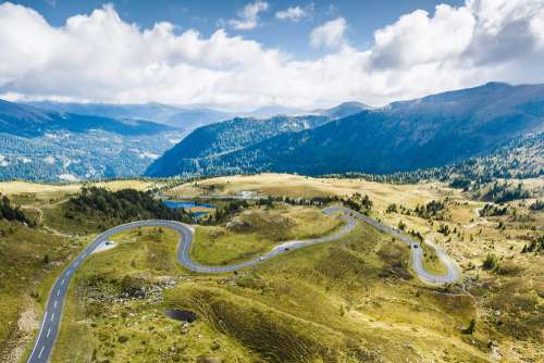 Curvy Alpine Road from Above