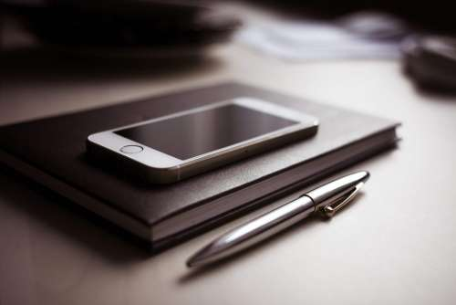 Diary with new iPhone 5S and Pen