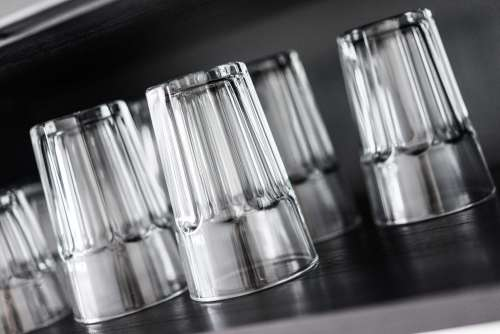 Drinking Glasses in Kitchen Shelf