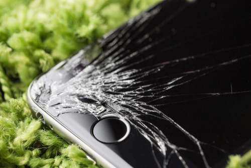 Dropped iPhone 6 with Cracked Screen Close Up