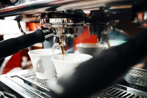 Espresso Machine Making Coffee in Bar