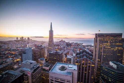 Sunset Evening over the San Francisco Cityscape