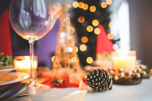 Christmas Table Decoration Close-Up