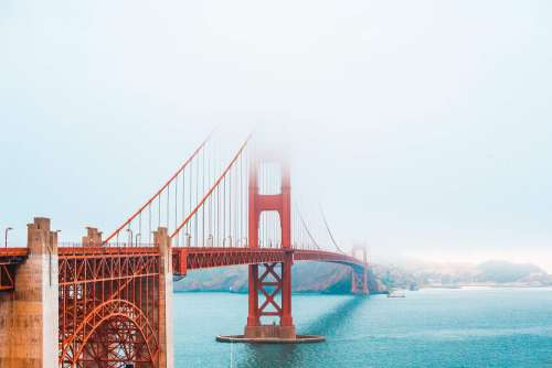 The Golden Gate Bridge Partly Covered in Fog