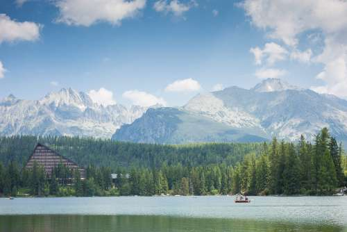 High Tatras Mountains Panorama Scenery with Lake and Woods