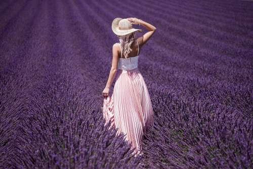 Beautiful Lady in Lavender Field