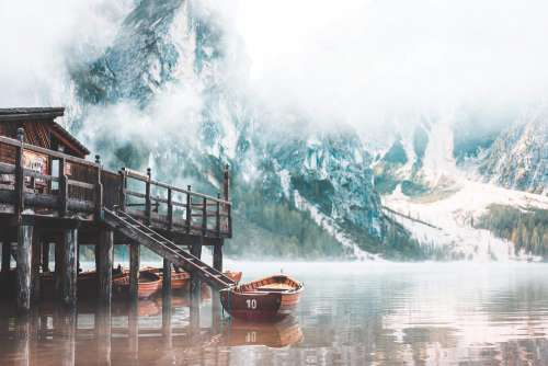 Foggy Lago di Braies in the Morning