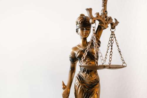 Blind Lady Justice Statue in Law Office