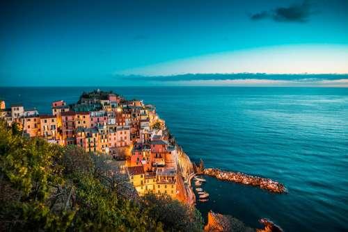 Beautiful Manarola at Night, Cinque Terre, Italy