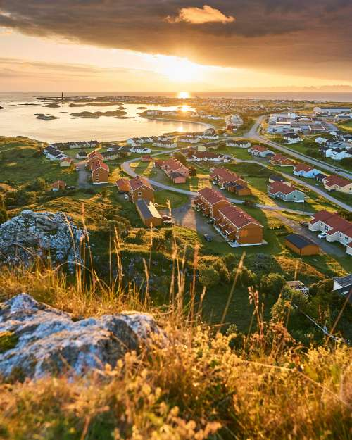 North Norwegian Town during Sunrise Vertical