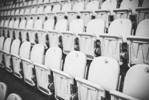 Numbered Stadium Seats in Black and White