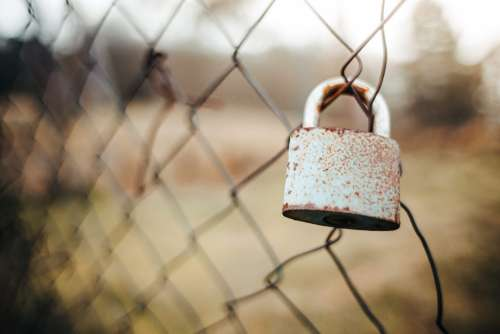 Old Lock on the Fence