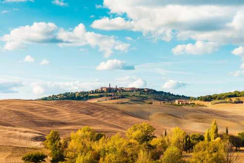 Beautiful Tuscan Landscape Around Pienza Town, Italy