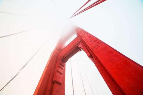 Pillar of The Golden Gate Bridge Covered in Fog