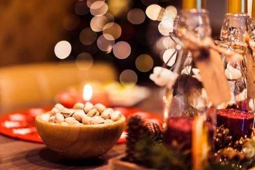 Pistachio Bowl on Christmas Table