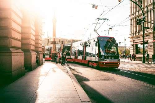 Tram in Prague Streets, Czech Republic