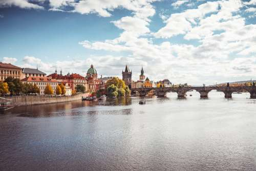 Prague Vltava River and Charles Bridge in Autumn