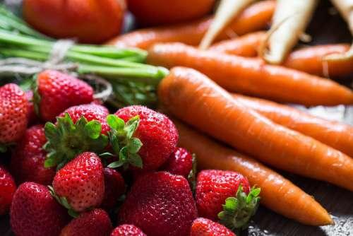 Preparing Fresh Breakfast: Strawberries & Carrots