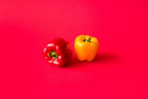 Red and Yellow Paprika Peppers on Flat Background Still Life